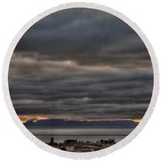 Menacing Skies Round Beach Towel