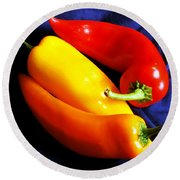 Menage A Trois Peppers Iv Round Beach Towel