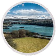 Menai Bridge 1819 Round Beach Towel