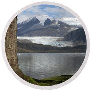 Mendenhall Glacier In Late Fall Round Beach Towel