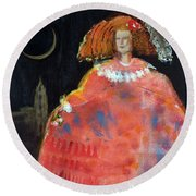 Menina And Cathedral Oil & Acrylic On Canvas Round Beach Towel