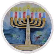 Menorah Round Beach Towel