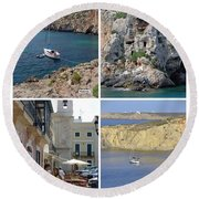 Menorca Collage 02 - Labelled Round Beach Towel
