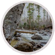 Merced River From Happy Isles Round Beach Towel