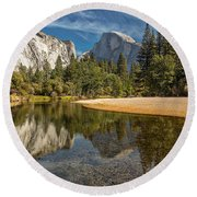 Merced River View I Round Beach Towel