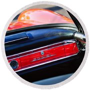 Mercedes 300 Sl Dashboard Emblem Round Beach Towel