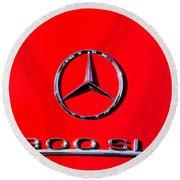 Mercedes 300 Sl Emblem -0121c Round Beach Towel