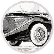 Mercedes 540k  - Parallel Hatching Round Beach Towel