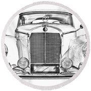 Mercedes Benz 300 Luxury Car Illustration Round Beach Towel