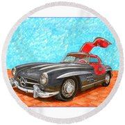 Mercedes  Benz 300 S L Gull Wing Round Beach Towel