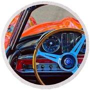 Mercedes-benz 300 Sl Steering Wheel Emblem Round Beach Towel