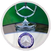 Mercedes Benz Hood Ornament 3 Round Beach Towel