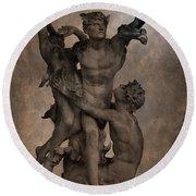 Mercury Carrying Eurydice To The Underworld Round Beach Towel