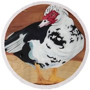 Merganser Duck Painted On Cedar Round Beach Towel