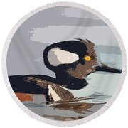 Merganser Reflections Round Beach Towel