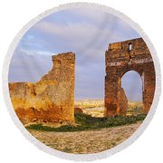 Merinid Tombs Ruins In Fes In Morocco Round Beach Towel