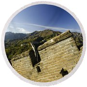 Merlon View At The Great Wall 1046 Round Beach Towel