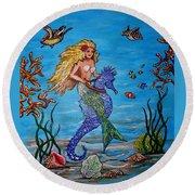 Mermaid And Seahorse Morning Swim Round Beach Towel