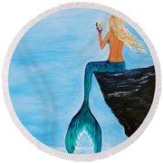 Mermaid Glam Day Round Beach Towel
