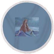 Mermaid In Moonlight Round Beach Towel