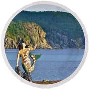 Mermaid On A Dock In Twillingate Harbour-nl Round Beach Towel