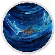Mermaids Dolphin Buddy Round Beach Towel