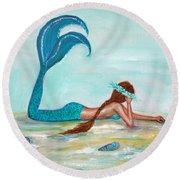 Mermaids Exist Round Beach Towel