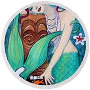 Mermaid's Tiki God Round Beach Towel