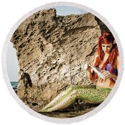 Mermais Sighting 1 Round Beach Towel