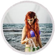 Mermais Sighting 2 Round Beach Towel