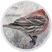 Merry Christman Finch Greeting Card Round Beach Towel