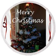Merry Christmas - Greeting Card - Christmas Tree - Ribbons Round Beach Towel