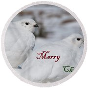 Merry Christmas - Winter Ptarmigan Round Beach Towel