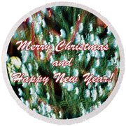 Merry Christmas 2 Round Beach Towel by Skip Nall