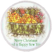 Merry Christmas And A Happy New Year - Fruit And Flowers In The Snow - Holiday And Christmas Card Round Beach Towel