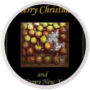 Merry Christmas And A Happy New Year - Little Gold Pears And Leaf - Holiday And Christmas Card Round Beach Towel