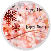 Merry Christmas And Happy New Year Round Beach Towel