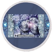 Merry Christmas Blue Round Beach Towel by Mo T