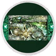 Merry Christmas Green Round Beach Towel by Mo T