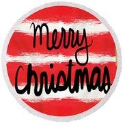 Merry Christmas- Greeting Card Round Beach Towel