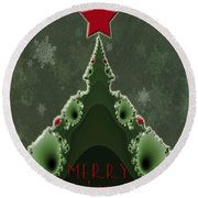 Merry Christmas Greeting - Tree And Star Fractal Round Beach Towel