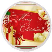 Merry Christmas Greeting With Gifts Bows And Ornaments Round Beach Towel