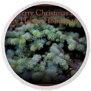 Merry Christmas And Happy Holiday - Blue Pine Holiday And Christmas Card Round Beach Towel