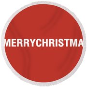 Merry Christmas Hashtag Round Beach Towel