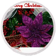 Merry Christmas Red Ribbon Round Beach Towel