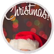 Merry Christmas Santa Card Round Beach Towel