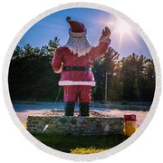 Merry Christmas Santa Claus Greeting Card Round Beach Towel