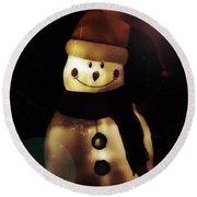 Merry Christmas Snowman  Round Beach Towel