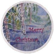 Merry Christmas - Snowy Winter Path Round Beach Towel