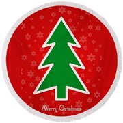 Merry Christmas Tree With Snowflake Background  Round Beach Towel